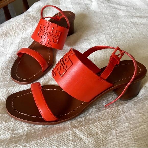 0b8848248 NWT Tory Burch Poppy red heel Sandals Size 8.5